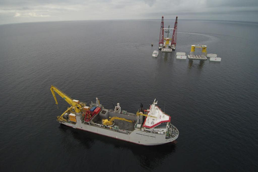 First foundation for the offshore wind farm Kriegers Flak installed in Denmark